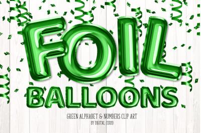 Green Foil Balloon Alphabet Clipart