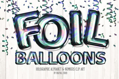 Holographic Foil Balloon Alphabet Clipart