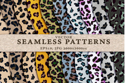 Set of colored leopard seamless backgrounds