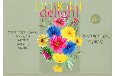 Delight. Bright Watercolor Flowers.