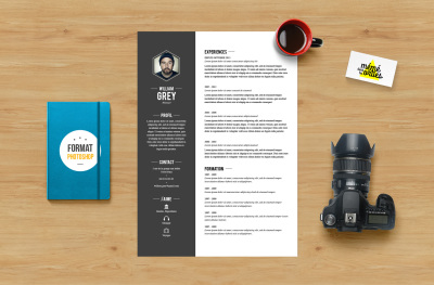CV Grey - Resume template Photoshop