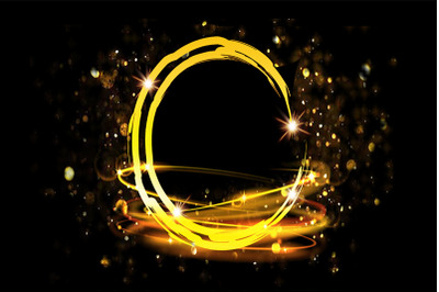Golden Circle Sparkling Frame Background