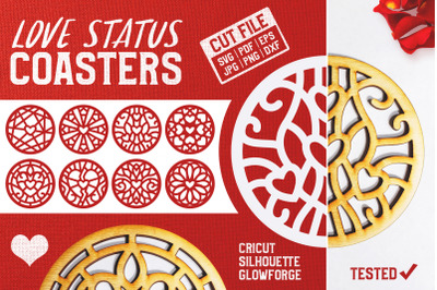 Love Status Coasters SVG Cut Files