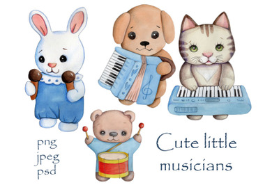 Cute little Musicians. Toy animals. Watercolor.