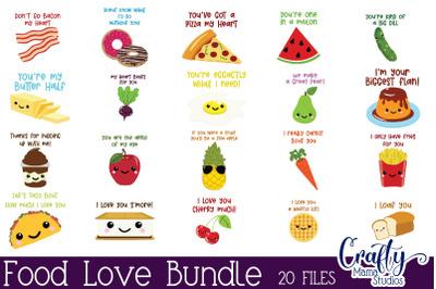 Food Love Svg, Valentine's Day Svg, Kid's Valentine Bundle