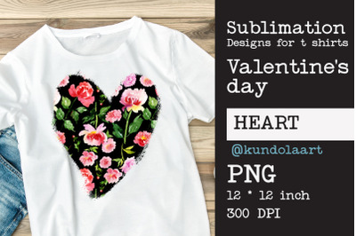 Watercolor  flower Heart PNG, Love Valentines day sublimation