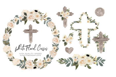 Easter Cross Watercolor Clipart, Greenery Floral Crosses, Green Leaves
