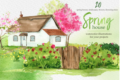 Watercolor Spring House clipart