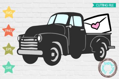 Vintage truck Valentine heart letter SVG