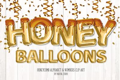 Honey Foil Balloon Alphabet Clipart