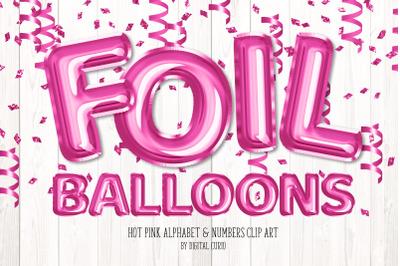 Hot Pink Foil Balloon Alphabet Clipart