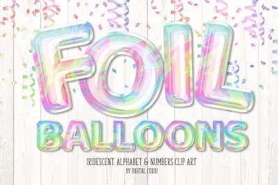 Iridescent Foil Balloon Alphabet Clipart