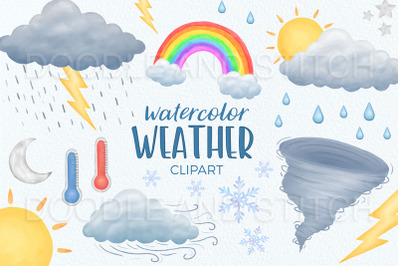 Watercolor Weather Clipart Illustrations