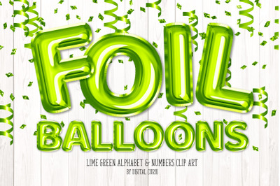 Lime Green Foil Balloon Alphabet Clipart