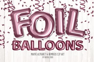 Mauve Foil Balloon Alphabet Clipart