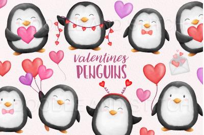 Watercolor Valentines Penguin Clipart