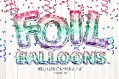 Mermaid Foil Balloon Alphabet Clipart