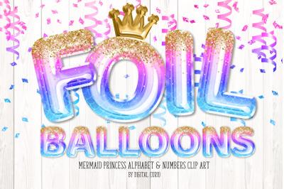 Mermaid Princess Foil Balloon Alphabet Clipart