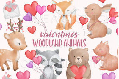 Watercolor Valentines Woodland Animals Clipart