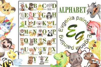 Watercolor Animal Alphabet. Childrens alphabet.Safari animals alphabet