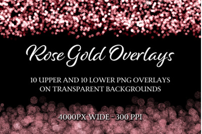 Rose Gold Overlays - 10 Upper and 10 Lower PNG Overlays
