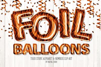 Tiger Stripe Foil Balloon Alphabet Clipart