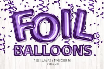 Violet Foil Balloon Alphabet Clipart