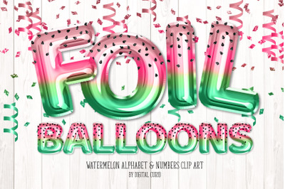 Watermelon Foil Balloon Alphabet Clipart