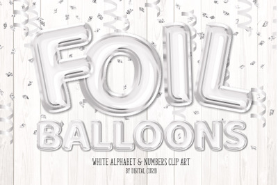 White Foil Balloon Alphabet Clipart