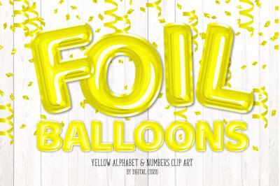 Yellow Foil Balloon Alphabet Clipart