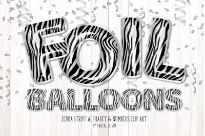 Zebra Foil Balloon Alphabet Clipart