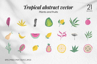 SET - Tropical leaf and fruit vector elements