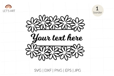 Chamomile split border svg, gerbers split border. Floral frame svg