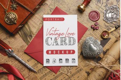 Vintage Love Card Mockup