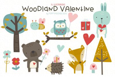 Woodland valentine clipart set