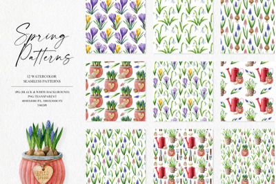 Spring Patterns Watercolor Collection