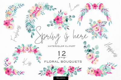 Spring is here. Floral bouquets set.