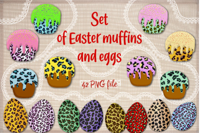 Set of Easter muffins and eggs.
