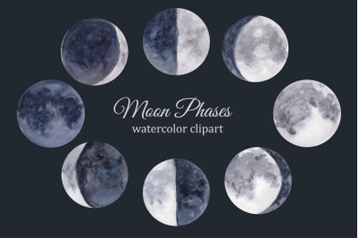 Moon phases watercolor clipart, lunar cycle, celestial clip art