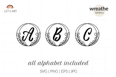 Floral monogram letters svg, wreathe alphabet svg. Wreathe letters svg