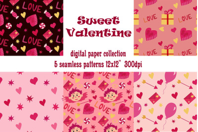Valentine's day digital paper collection. 5 seamless love patterns.