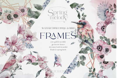 Watercolor Floral Rose Gold Frames Flowers Hand Painted Flowers Birds