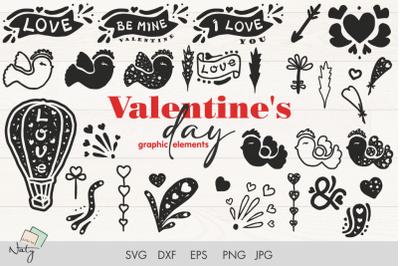 Valentine's day graphic elements SVG pack.