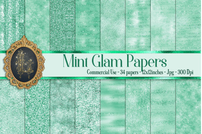 34 Mint Glam Digital Papers Sequin Glitter Luxury Background