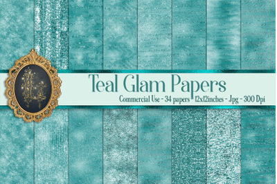 34 Teal Glam Digital Papers Sequin Glitter Luxury Background