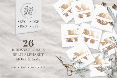 Rustic Birds and Florals Split Alphabet Monograms SVG Cut-Files