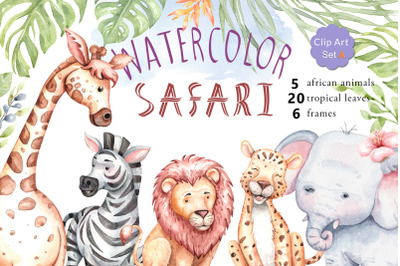 Watercolor safari animals and jungle element images.