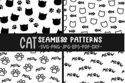 Cat svg Seamless patterns svg Cat print svg Cute cat patterns