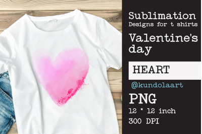 Watercolor  Heart PNG, Love Valentines day sublimation