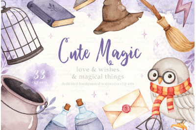 Cute Magic Watercolor Clip Arts